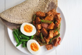 Vegetarisch Surinaamse roti met zoete aardappel