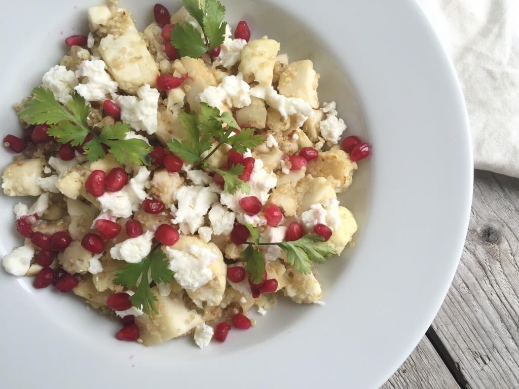 Bloemkoolsalade met quinoa en geitenkaas