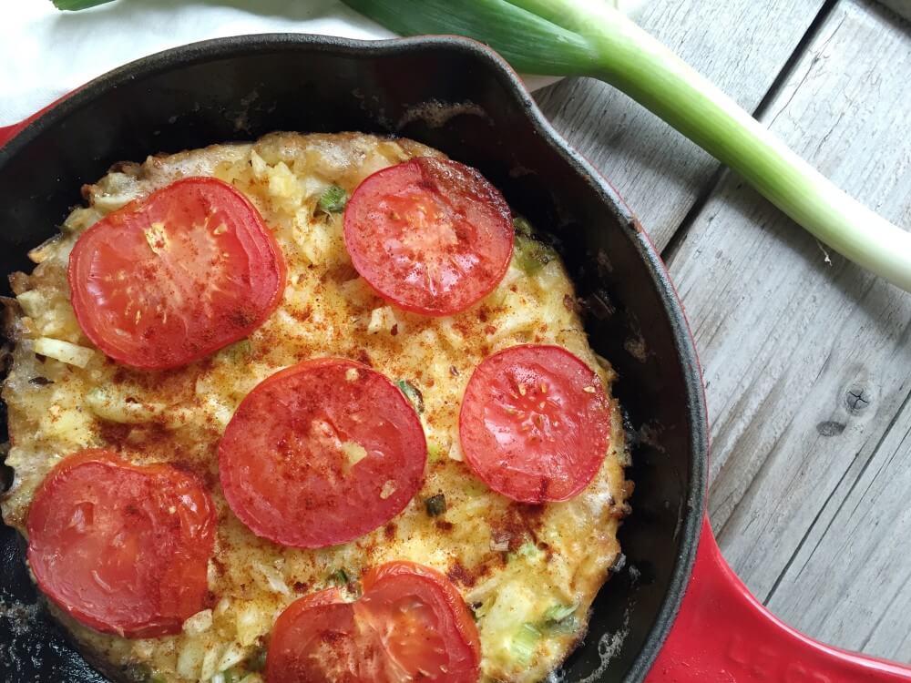 Frittata met tomaat en gerookt paprika poeder
