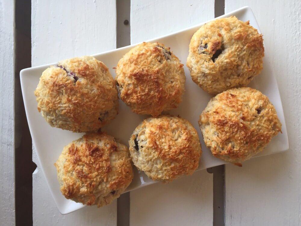 Gezonde kokosbollen uit de oven met blauwe bessen