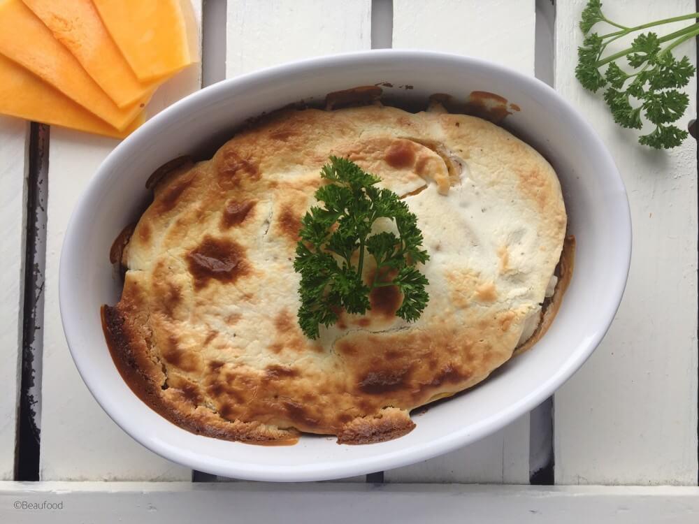 Lasagne van pompoen met geitenkaascrème, Gezonde lasagne, Glutenvrije lasagne, Beaufood recepten, Gezond avondeten, Gezonde foodblogs, Lasagne zonder pastavellen
