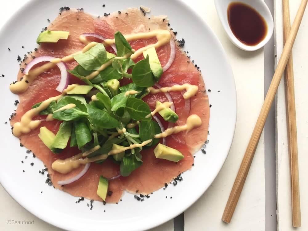 Carpaccio van tonijn met sojadressing