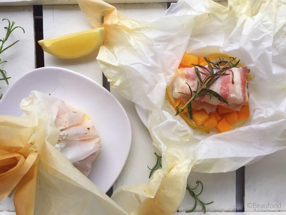 Kabeljauwpakketjes met pompoen en pancetta