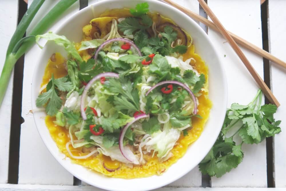 Gevulde Vietnamese pannenkoeken (Banh xeo)