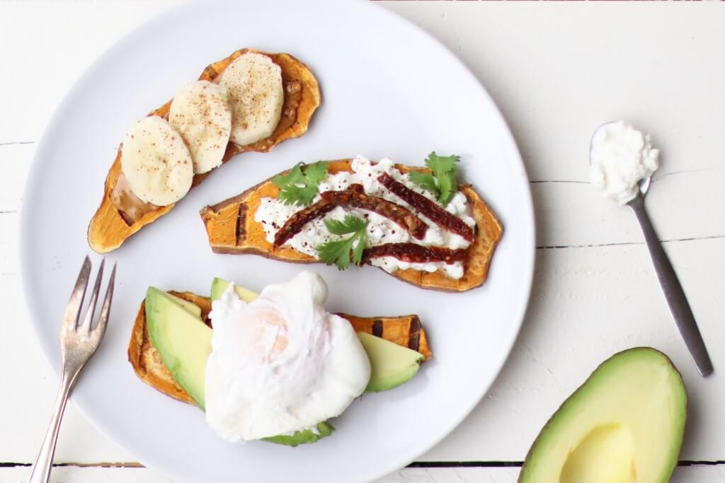 3 x toast van zoete aardappel (met healthy toppings)