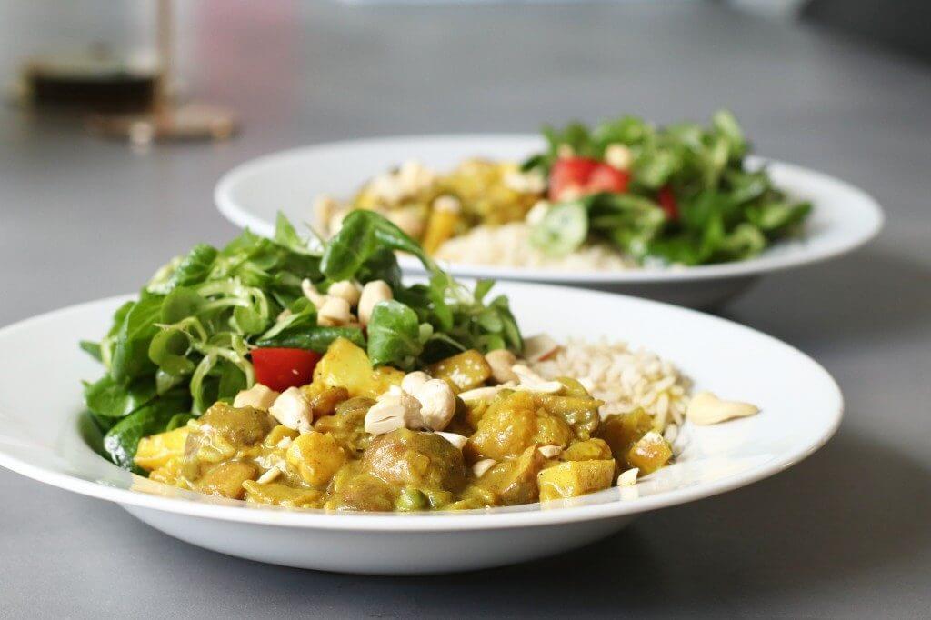 Vegetarische kip kerrie met appel, Gezonde avondmaaltijden, Beaufood recepten, Avondeten kip, Glutenvrije foodblogs, Zelf kip kerrie maken, Kip kerrie zonder kip