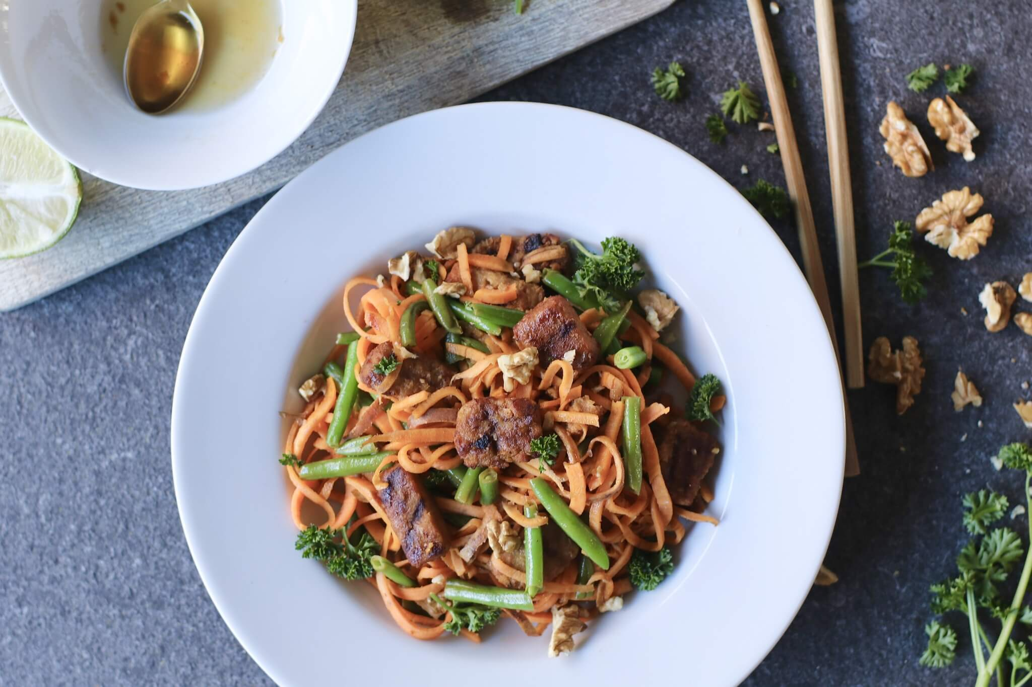Oosterse wok noodles van zoete aardappel, Gezonde maaltijden, Slanke maaltijden, Vegetarische noodels, Beaufood recepten, Glutenvrije noodles, Koolhydraatarme noedels, Gezonde recepten
