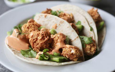 Crispy tofu taco's, Vegetarische taco's, Vegetarische foodblogs, Recepten met tofu, Tofu uit de oven, Slanke avondmaaltijden, Vegetarische comfortfood, Beaufood recepten