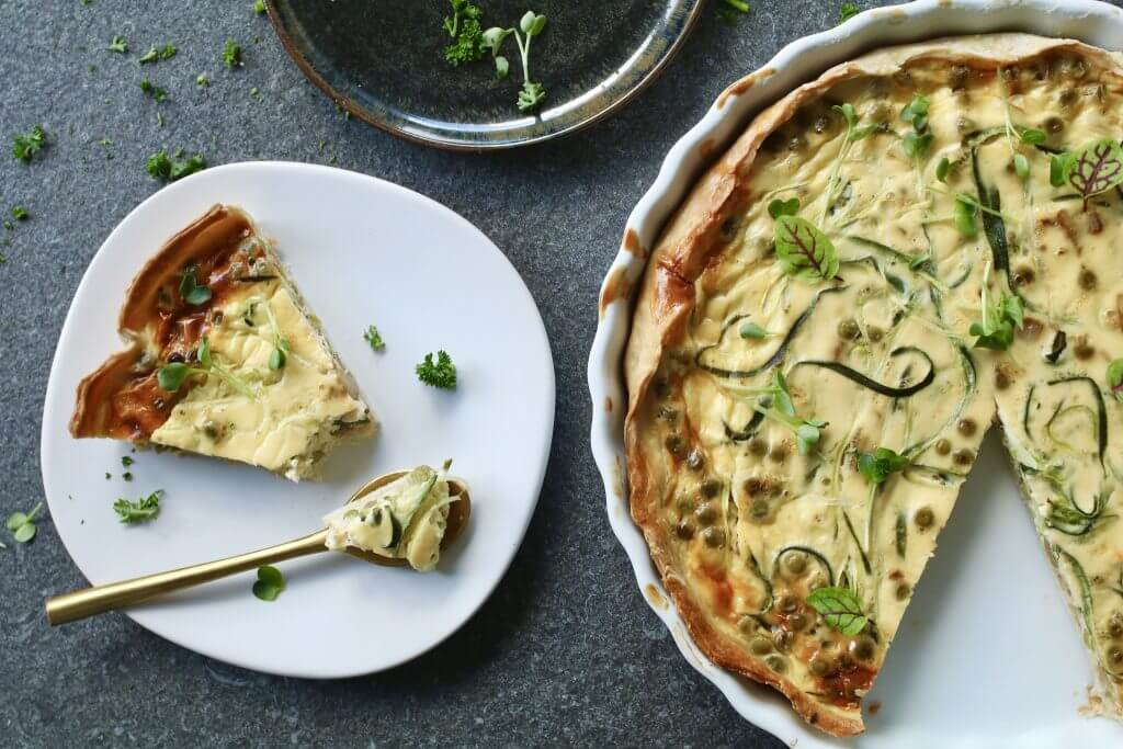 Courgetti quiche, Gezonde quiche, Courgetti recepten, Beaufood recepten, Gezonde foodblogs, Culinaire blogs, Lunchen zonder brood