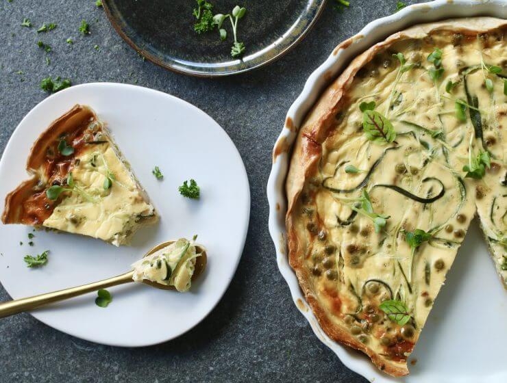 Courgetti quiche, Gezonde quiche, Courgetti recepten, Beaufood recepten, Gezonde foodblogs, Culinaire blogs, Lunchen zonder brood