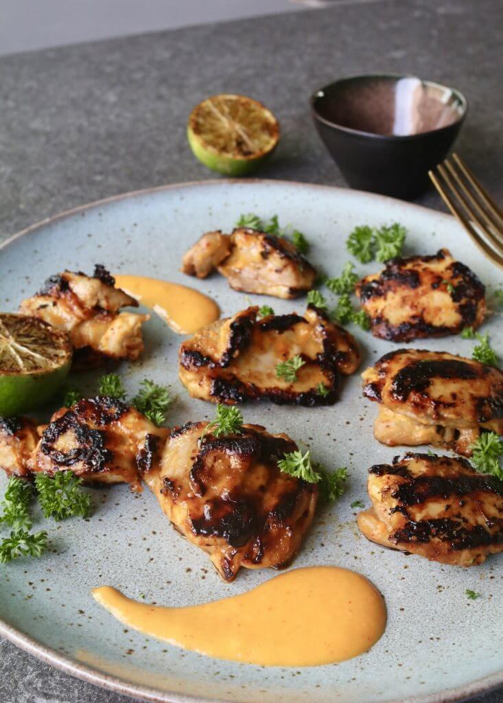 Gegrilde kippendij in mango en limoen, Gezonde barbecue recepten, Beaufood barbecue, Leuke vleesgerechten barbecue, Gezonde kip recepten, Gezonde foodblogs, Beaufood recepten