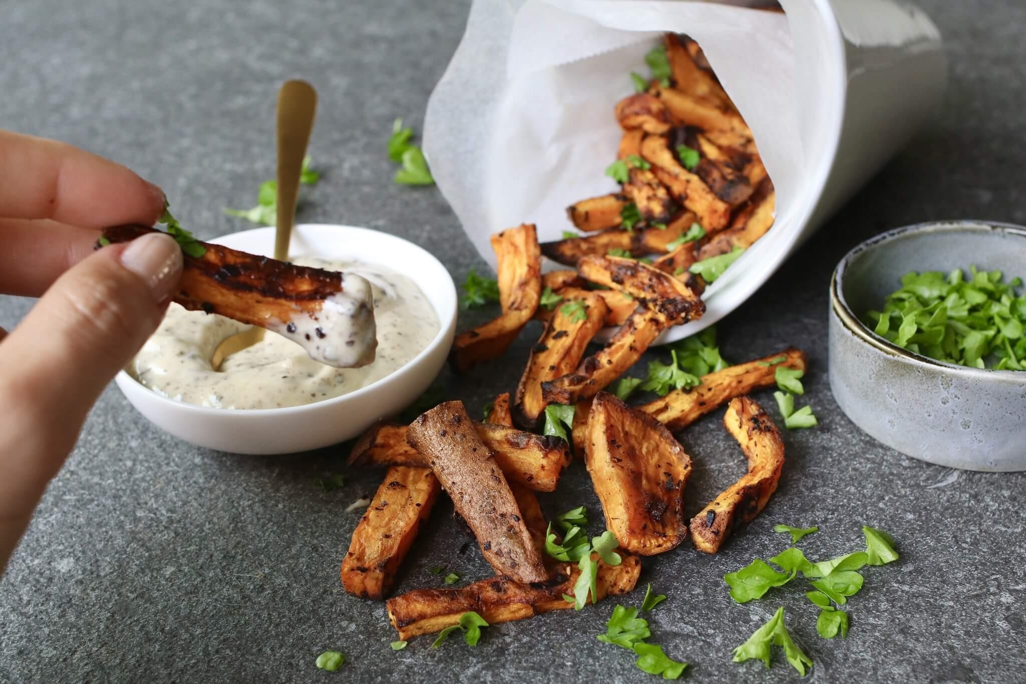 Zoete truffel frietjes, Recept truffel mayonaise, Frietjes uit de oven, Gezonde foodblogs, Beaufood recepten, Gezond avondeten, Gezond en lekker avondeten