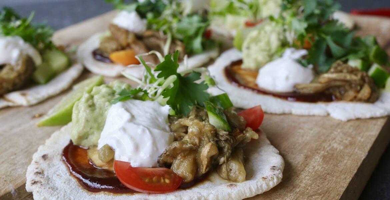 mexicaanse taco's met pulled aubergine - beaufood